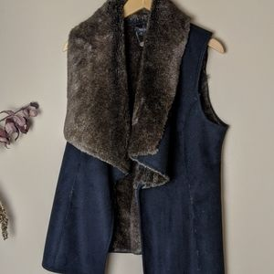 Scoop NYC Faux Fur Shearling Vest navy